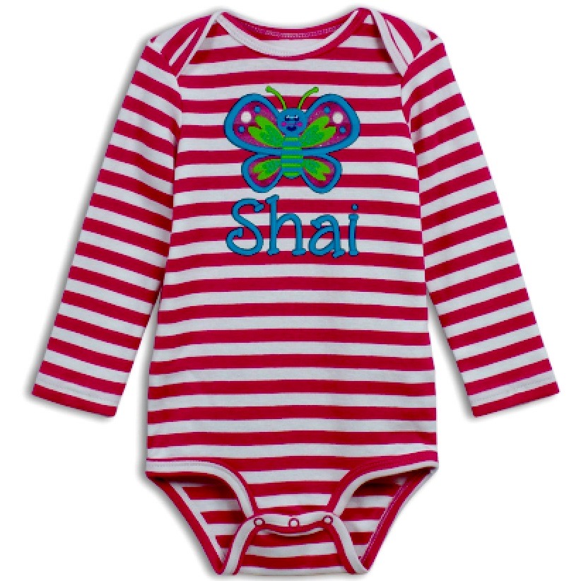 Long Sleeve Striped Onesie